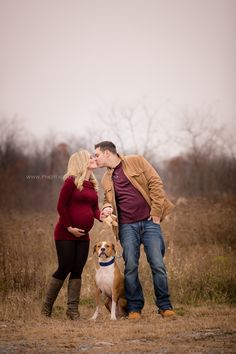 Maternity, Fall, Winter, Red, couple, dog