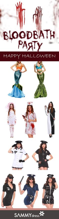Still got no idea about your Halloween costume for this year? Here are Sammydress's last-minute Halloween costume ideas! Little mermaid, bloody nurse, eastern witch and sexy cop! Be the special and confident one on Halloween party with less than $25! No more worries before holiday seasons cause we've got your back! Add it to your cart and you'll get your Halloween costume soon! Check out more inexpensive and cool Halloween costume ideas on www.sammydress.com!