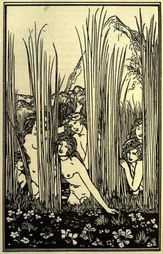 Poems by Percy Bysshe Shelley  illus. by Robert Anning Bell (1902)    Nymphs listening to the songs of Pan