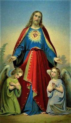 Jesus Cristo e dois anjos