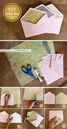 Cute way to brighten up your mail. Perfect for weddings, birthday invites, special occasion cards by Sherry Lou Studio Fancy Envelopes, Handmade Envelopes, Card Envelopes, Birthday Gifts For Kids, Friend Birthday Gifts, Diy Birthday, Diy Envelope Liners, Envelope Art, Proyectos Cricut Explore
