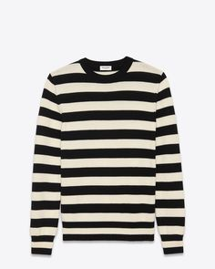 SAINT LAURENT CLASSIC CREWNECK SWEATER IN BLACK AND IVORY STRIPED WOOL