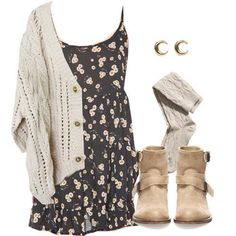 Put a chunky cardigan over a summer dress with thick tights and boots for a effortless winter look