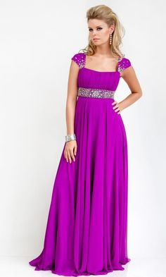 Custom Made Sequins Cap Sleeve Ruffle Empire Dark Voilet Chiffon Summer Evening Dresses
