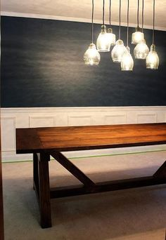 DIY Dining table -- plans from Ana White. Love the lights too.