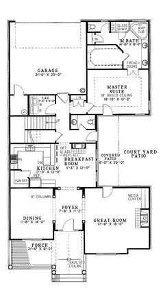 GREAT for IRREGULAR LOTS....First Floor Plan of Cottage   Traditional   House Plan 62008