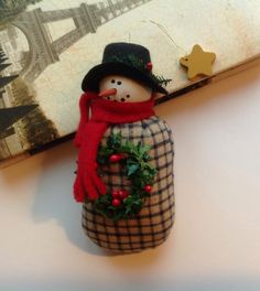 Snowman Ornament Handmade Snowman Christmas Ornament Holiday Christmas Snowman Ornament