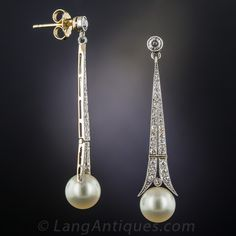 Art Deco Pearl and Diamond Drop Earrings - 20-1-6501 - Lang Antiques