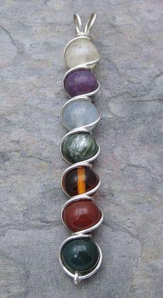 Multi Stein Chakra Sterling Silber Draht gewickelt von KimsJewels