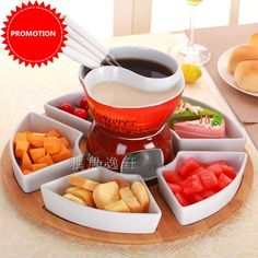 FREE SHIPPING FONDUE POT CHOCOLATE POTS SET ICECREAM HOT POT CUTE ROMANCE KITCHEN UTENSIL CERAMIC SWEET FOOD FONDUE CHEESE POT