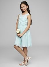 Teen Illusion Neckline Mint Dress Short Younger bridesmaids are also seeing a change in hemline with mixture of both full and knee lengths in equal measure - helpful for the more energetic younger bridesmaids!