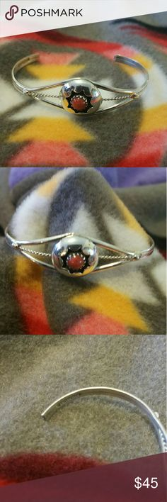 Authentic Coral Sterling silver Baby Bracelet Hand made in Indian Country in Gallup Nm.  Sterling silver Baby Bracelet with a coral stone inlay. Beautifully designed.   hand made by the native artisans.  A must have for your baby will fit a toddler up to 3 to 4 years old. Jewelry Bracelets