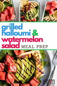 Grilled Halloumi and Watermelon Salad - A light and refreshing summer salad that comes together so quickly. Halloumi cheese is grilled to add some flavor, and then layered with sweet watermelon and creamy avocado. Vegan Meal Prep, Lunch Meal Prep, Dinner Meal, Keto Meal, Lunch Recipes, Healthy Dinner Recipes, Salad Recipes, Potato Recipes, Grilling Recipes