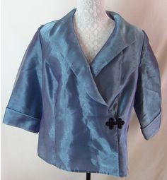 ALEX EVENINGS Organza Blue Purple Shine Shimmer 1X Wrap Top Blouse Occasion  $47.50
