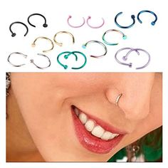16pcs Stainless Steel Body Jewelry Piercing Nose Open Hoop Ring,Nose Studs Rings,Body Slave Jewelry
