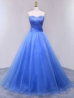 Ball Gown Sweetheart Organza Floor-length Beading Lace-up Inexpensive Prom Dresses #DGD020103063