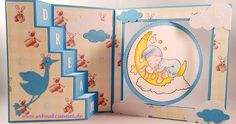 "Cute baby card using ""Cradled by the Moon"" Whimsy Stamps; ""Create a Card No 1"" and ""Create a Card No 10"" Crealies; big cloud die Crealies; small cloud dies and storch ""New Baby"" Sizzix; letter di CraftEmotions; Designerpaper ""It's a boy"" First Edition; Cardstock CraftEmotions;  glitter cardstock Rayher; colored with TwinklingsH2O"
