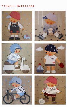 Hos estamos preparando catálogos, aquí os dejamos unos cuantos modelos de #cuadrosinfantiles personalizados para ... Bargello Quilts, Cartoon Boy, Boy Quilts, Baby Development, Applique Quilts, Baby Blanket Crochet, Baby Sewing, Applique Designs, Doll Patterns
