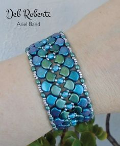 beaded pattern tutorial by Deb Roberti, Ariel Band beaded pattern tutorial by Deb Roberti, Ariel Band beaded pattern tutorial by Deb Roberti, Tutorials on how to make a bracelet with blue and Beading tutorial bracelet Beaded bracelet tutorial Ginko Bead Embroidery Patterns, Beading Patterns Free, Bead Loom Patterns, Beading Tutorials, Beaded Embroidery, Weaving Patterns, Art Patterns, Knitting Patterns, Color Patterns