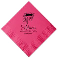 100 Personalized Napkins Printed Mask Masquerade Party Napkins Mardi Gras Custom Monogram Luncheon Dinner Guest Towel Available