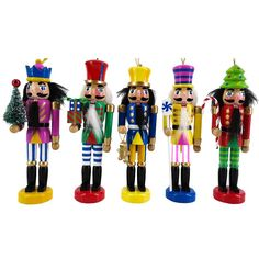 Funky Colored Nutcracker Ornaments Set of 5 Ornaments 6 inch Nutcracker Ornaments, Christmas Tree Ornaments, Christmas Ideas, Holiday Ideas, Nutcracker Soldier, Quiet Book Patterns, Holiday Candles, How To Make Ornaments, Decorative Pillows