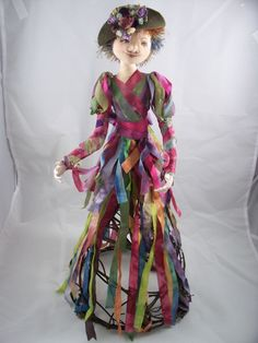Cage Doll made with hand dyed ribbons, all cloth with woven twig base made by Jean Peeters