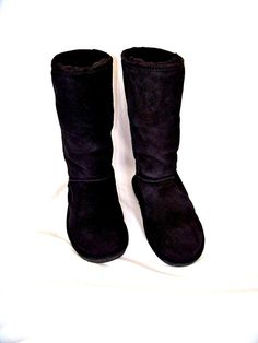 "Bearpaw Emma 12"" Tall Sheepskin Lined Black Suede Boots Size 9 EUC #Bearpaw…"