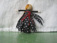 Anti Valentine Doll, Halloween Fairy Doll, Polka Dot Witch doll, Flower Fairy, black and red