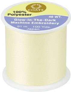 Glow In The Dark Machine Embroidery Thread 100 Yards-Yellow. COATS&CLARK-Glow In The Dark Thread. This is a 100% polyester 40 weight thread. Featuring beautiful pastel colors in daylight that glow in
