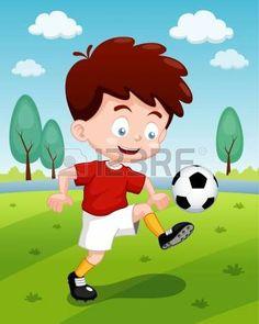 ilustración de dibujos animados. Niño jugando fútbol. Boys Playing, Cute Boys, Minnie Mouse, Disney Characters, Fictional Characters, Family Guy, Disney Princess, Illustration, Anime