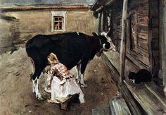 'Farm Yard in Finland', Oil by Valentin Serov (1865-1911, Russia)