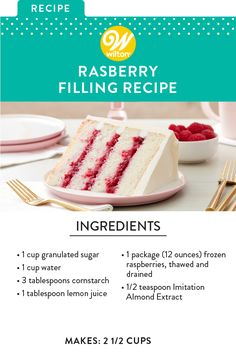 Take your cakes and cupcakes up a notch by using this delicious raspberry filling. A lovely accompaniment to your favorite vanilla or almond cake recipe, this sweet fruit filling adds great flavor to your treat. Brownie Desserts, Oreo Dessert, Köstliche Desserts, Delicious Desserts, Frosting Recipes, Cake Recipes, Dessert Recipes, Wilton Buttercream Frosting, Cupcake Filling Recipes