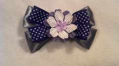 Gray and Lavender Flower Hair Bow by GloriaMillerCreation on Etsy, $6.00