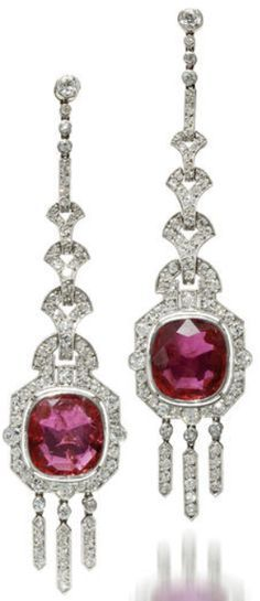 Doris Duke ruby and diamond earrings