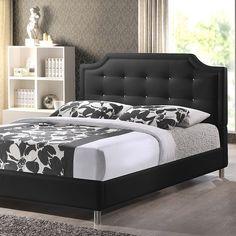 Lovely Baxton Studio Carlotta Black Modern Bed with Upholstered Headboard