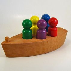 Wooden Toy Boat  With Rainbow Peg People by WoodToyShop on Etsy, $16.00