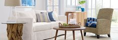 Casual Summerhouse - Slipcovered Willow Sofa, Kona chair, white and blue accents.