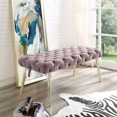 The Jilynn diamond tufted velvet bench adds a gentle sophistication to your living room, bedroom, or entryway. The bench itself is functional at the foot of a bed or . Upholstered Storage Bench, Upholstered Bench, Furniture Sale, Living Room Furniture, Dressing Chair, Wood Storage Bench, Tufting Buttons, Home Decor Styles, Living Spaces