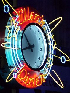 - New York City - A Sign with the Time by myoldpostcards Vintage Neon Signs, Vintage Decor, Led, Neon Sign Art, Neon Words, Neon Clock, Neon Nights, Marquee Sign, Neon Aesthetic