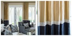 Beautiful seamed silk drapes with a Greek key trim Silk Drapes, Black Curtains, Drapes Curtains, Window Coverings, Window Treatments, Color Block Curtains, Thermal Drapes, Pattern Draping, Custom Drapes