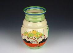 Clarice Cliff Vase -  shape 358 - Tulips Pattern - Bizarre marked - 1934 - 200mm high