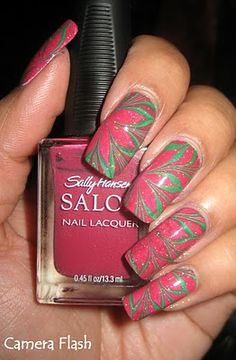 My Simple Little Pleasures: NOTD: Christmas Poinsettia Water Marble See the tutorial:  http://youtu.be/vuHK6V79uIg