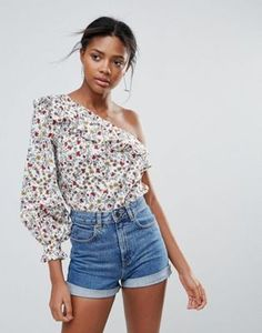 New Look One Shoulder Ditsy Floral Print Top