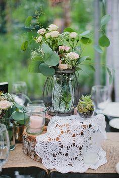 shabby chic wedding centerpiece  http://www.weddingchicks.com/2013/10/16/rainy-day-wedding-2/