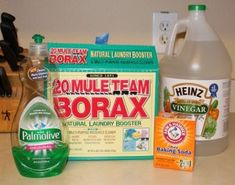 A more natural disinfectant floor cleaner made without harsh chemicals: 1/4 cup baking soda; 1/2 cup of borax; 1/4 cup vinegar; 1 T dish soap or baby wash; 2 gallons hot water; Add the dish soap at the end so that the mixture won't be too sudsy.