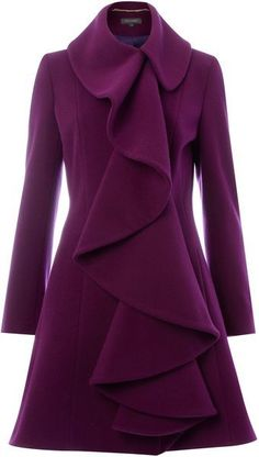 Pied A Terre Purple Ruffle Front Coat