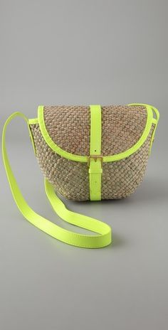 lime trimmed seagrass cross body bag