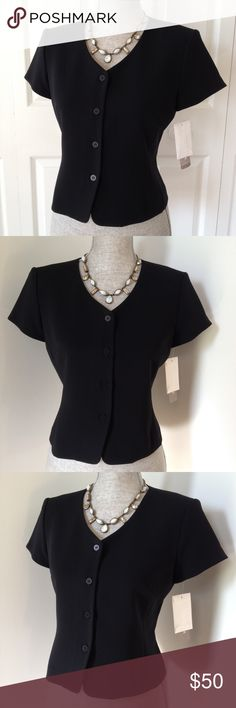 Jones New York Petite Dress Jacket Made in USA!  Classic & classy short-sleeve black dress jacket.  4 simple black buttons adorn the front for an elegant, refined finish.  64% Triacetate, 36% polyester.  NWT Jones New York Jackets & Coats