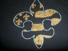 New Orleans Saints Football Logo Black T-Shirt Men's Size X-Large 100% Cotton