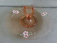 Vintage Pink Depression Glass Sandwich Party Tray Center Handle & Enamel Flowers